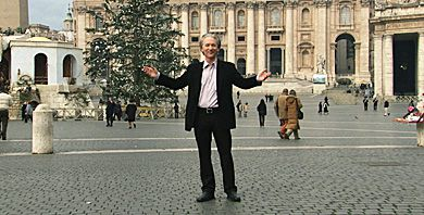 Bill Maher at St. Peter's Basilica in Religulous, a comic documentary intent on fostering discussion by targetting JC and company.