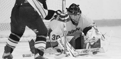 Gaels goaltender Katie Boyd makes one of 21 saves in her shutout against Waterloo on Sunday.