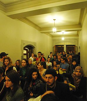 Last night's ASUS Special General Assembly in Wallace Hall was filled to capacity with students. Around 7:44 p.m., it was cut short by a fire alarm.