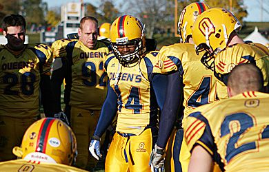 Thaine Carter tries to pump up his teammates in the Gaels' playoff game Nov. 1 against the University of Ottawa Gee-Gees.