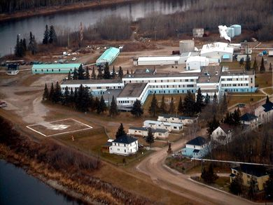 Weeneebayko General Hospital was built in Moose Factory, Ontario, in 1949 as a tuberculosis sanitarium.