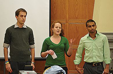 Presidential candidate Colin McLeod, vice-president (operations) candidate Ellen Allwright and vice-president (university affairs) candidate Suhail Panjwani speak to AMS Assembly on Jan. 15.
