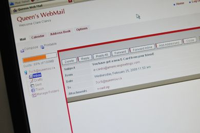 A computer virus circulating around Queen's Webmail with the subject line 'You have got a new E-card from your friend!' has created a backlog of computers to be cleaned up by Queen's IT Services.
