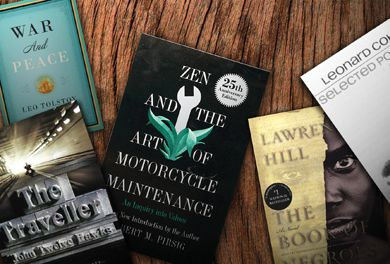The Travelers, War and Peace, Zen and the Art of Motorcycle Maintenance, The Book of Negroes and Leonard Cohen's Selected Poems are five books that come strongly recommended by key Queen's individuals.