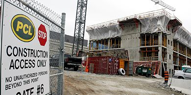 Salvaged materials from the remains of Jock Harty Arena will be used in Phase One of the Queen's Centre. Queen's will earn points towards LEED certification by reusing recycled older materials.