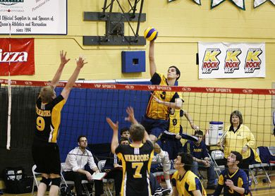 Joren Zeeman goes for a kill against the Waterloo Warriors in a Feb. 14 playoff game.