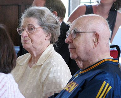 Alfred Bader and his wife Isabel listen as the International Study Centre is officially renamed in Alfred Bader's honour.