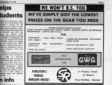 A back-to-school advertisement for S&R from the Sept. 10, 1974 issue of the Journal.