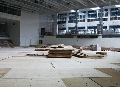 The $250,000 gym floor, pictured in July, was damaged by a flood on Aug. 11.