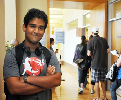 Saquib Siddiqui, ArtSci '13, waits for his OSAP loan in Gordon Hall. He's opting out of a meal plan and working part-time to pay for school this year.