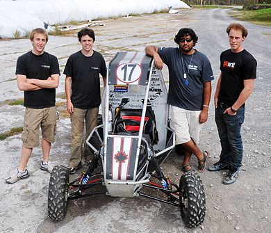 From the left, Brett Goemans, Dave Adams, Parthiv Amin and Simon Winter make up half of the eight-man Baja Team at Queen's.