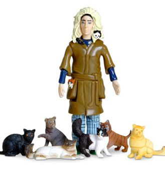 The cat lady action figure depicts an infamous stereotype.