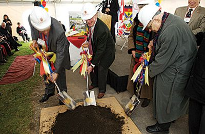 Principal Daniel Woolf, Board of Trustees Chair Bill Young and Isabel and Alfred Bader break ground on the University's new performing arts centre yesterday. See story above.