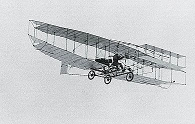 The original Silver Dart in flight. Canada's first powered plane, its inaugural flight was in 1909.