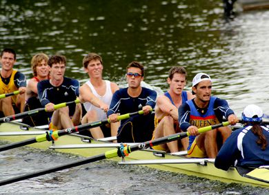 The lightweight men's eight rowing team pulls for gold in Peterborough at the Trent Regatta on Oct. 3. From right to left, coxswain Amy De Merlis, Graham Pupo, Jamie Christian, Kyle Mullen, Alex Condello, Taylor Overing, Chris Purdon and Rob Ballard.