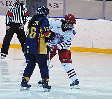 Becky Conroy gets tied up with a York defender during the Gaels' Jan. 17 6-1 loss against the Lions. Last weekend she notched two goals against the Lions in the Gaels' 4-0 season-opening win in Toronto.