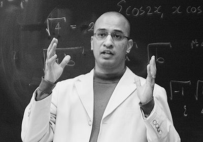 Lawyer Khurrum Awan speaks to a crowd of about 30 in Biosciences Complex on Wednesday.