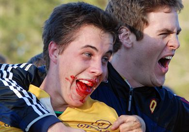 Scrum-half Liam Underwood celebrates the final whistle of the Gaels' OUA finals victory over the Mustangs at Fletcher's Field.