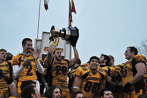 The Gaels celebrate their 33-30 win over the Laval Rouge-et-Or in today's Mitchell Bowl at Richardson Stadium. They face the University of Calgary Dinos next Saturday in Quebec City.
