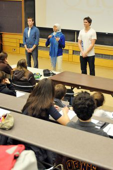 Chris Rudnicki, Safiah Chowdhury and Ben Hartley of Team CHR give a class talk in Chernoff Hall auditorium yesterday.