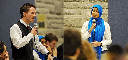 AMS Team PNF presidential candidate Mitch Piper and Team CHR presidential candidate Safiah Chowdhury spar at Wednesday's debate in the JDUC.