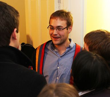 Nick Day, rector-elect, celebrates his win at home last night.