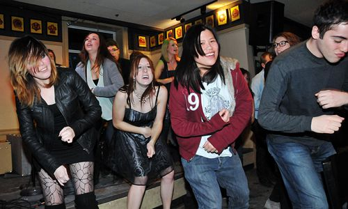 Engineering students do the Sci '10 dance at Clark Hall Pub last night.