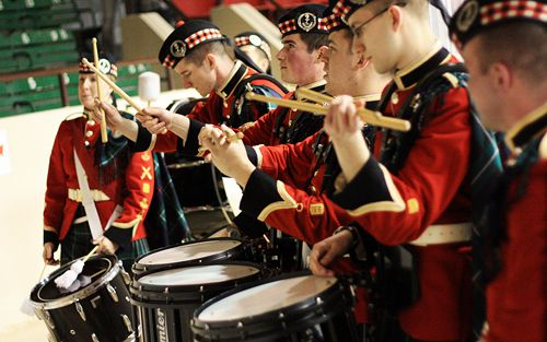 The Royal Military College bands came to play too. While the action was fast on the ice, the drumlines got after each other in the stands during the start of the third period.