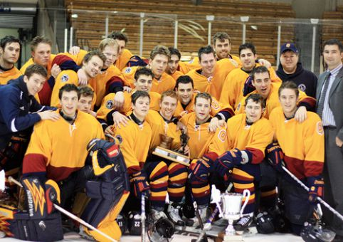 The Gaels celebrate their 15th Carr-Harris Cup win.