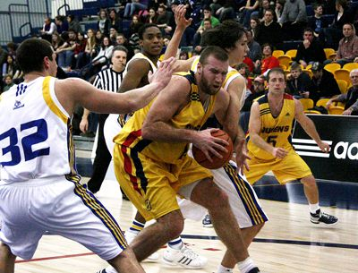 Queen's forward Mitch Leger, pictured here during the Gaels' 87-81 win over the Laurentian Voyageurs on Jan. 30, hit a landmark 1,300 points last weekend in Toronto.