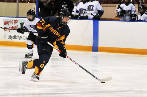 Forward Kelsey Thomson, pictured here during Queen's 4-3 win over the University of Ontario Institute of Technology Ridgebacks on Jan. 30, is fourth in the OUA for scoring after notching four points last weekend against the Windsor Lancers and Western Mustangs.