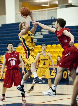 Guard Ryan Hairsine led the Gaels with 23 points against the Royal Military College Paladins on Saturday night.