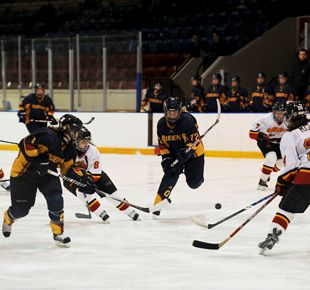 Gaels forward Kelsey Thomson breaks through the Gryphon defense during the Gaels' 7-4 loss to Guelph during game one of the OUA quarterfinal on Feb. 25 at the Memorial Centre. The Gryphons won game two in Guelph to sweep the series.