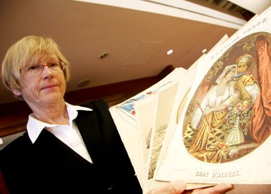 Associate University Librarian Barbara Teatero shows pieces from the personal collection of Robertson Davies.