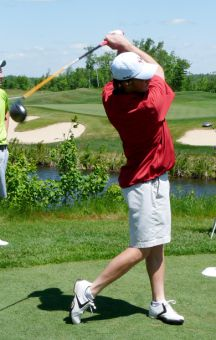 Mike Hossack tees off at the University/College Championship at Kingswood Park in Fredericton, New Brunswick.