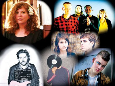 Clockwise from top left: Katie Moore, Think About Life, Memoryhouse, Diamond Rings, Harbour Sharks and Bahamas.