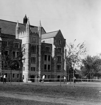 Above: Students use tennis courts behind Douglas Library circa 1925. Below: Douglas Library facing University Ave. circa 1930.