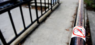 Ramps used for locking up bicycles can make campus inaccessible.
