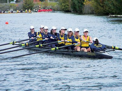 The light weight women's eight racing through the Trent Canal in Peterborough.
