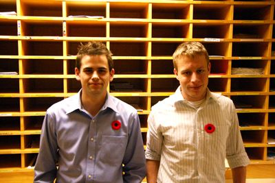 AMS Vice-President (Operations) Ben Hartley and Student Centre Officer Stephen Pariser piloted the project.