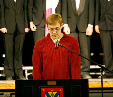 Rector Nick Day speaks at the Remembrance Day ceremony at Grant Hall yesterday.