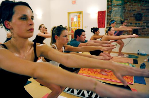 Doing yoga in a heated room allows the muscles to stretch more deeply and the heart to pump blood faster through the body.