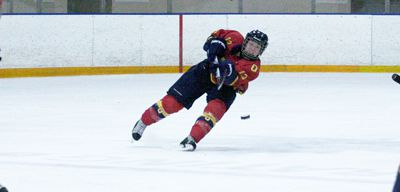 Defenceman Katie Duncan clears the puck in the Gaels' 6-2 win against the York Lions Saturday night.