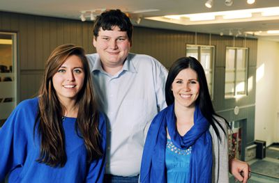 Presidential candidate Morgan Campbell (left), vice-president (Operations) candidate Ashley Eagan (right) and vice-president (University Affairs) candidate Kieran Slobodin (centre) want to bring a pharmancy and fresh-produce grocer to the Queen's Centre.