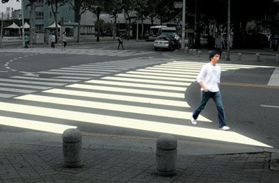 """Jae Min Lim designed an """"ergo crosswalk"""" in a competition for designboom.com, a website about design culture. It mimics people's habits as they cross intersections: taking the shortest route possible."""