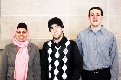 Presidential candidate Josh McCaul (centre), vice-presidential (Residence Affairs) candidate Tuba Chishti (left) and vice-presidential (Discipline) candidate Wesley Forget (right) of Team MCF say they want to create a floor representative caucus.