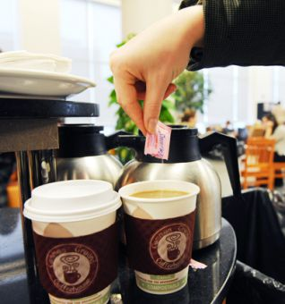 An average cup of coffee contains up to 100 mg of caffeine, one quarter of the safe daily amount as recommended by Health Canada.