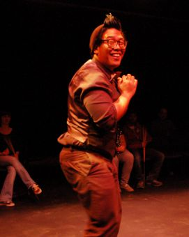 Ray Jacildo performs in Jaclyn Gruenberger's original piece, the ironic The Most Tragic Coat, directed by Tom Hinchliffe and Radissen Ramoutar.