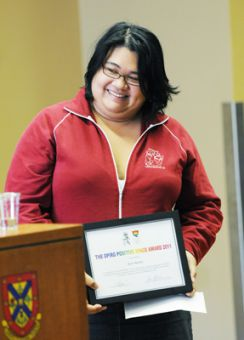 Kym Nacita, ArtSci '09 and MA '11 wins the OPIRG Positive Space Award for her work in queer indigenous activism on campus.