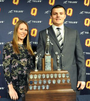 At the Varsity Colour Awards, Sam Sabourin of football and Liz Boag of women's basketball were named top rookies.